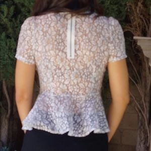 do & be Tops - Beautiful black and white lace peplum top